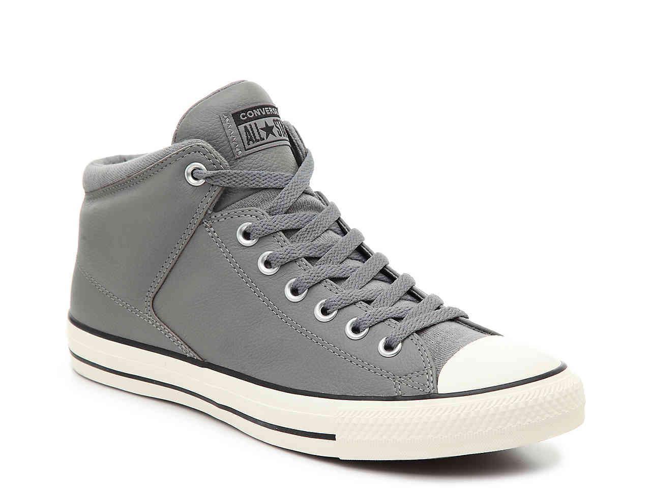 8c71e9526f6b56 Converse. Men s Gray Chuck Taylor All Star Hi Street Leather High-top  Sneaker