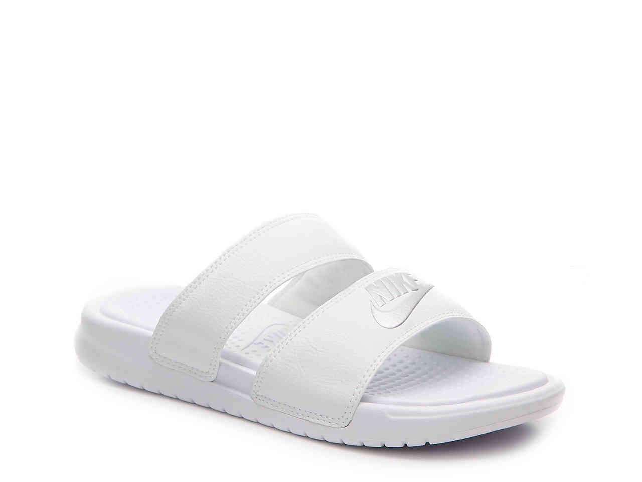 Nike. Women's White Benassi Duo Ultra Slide Sandal
