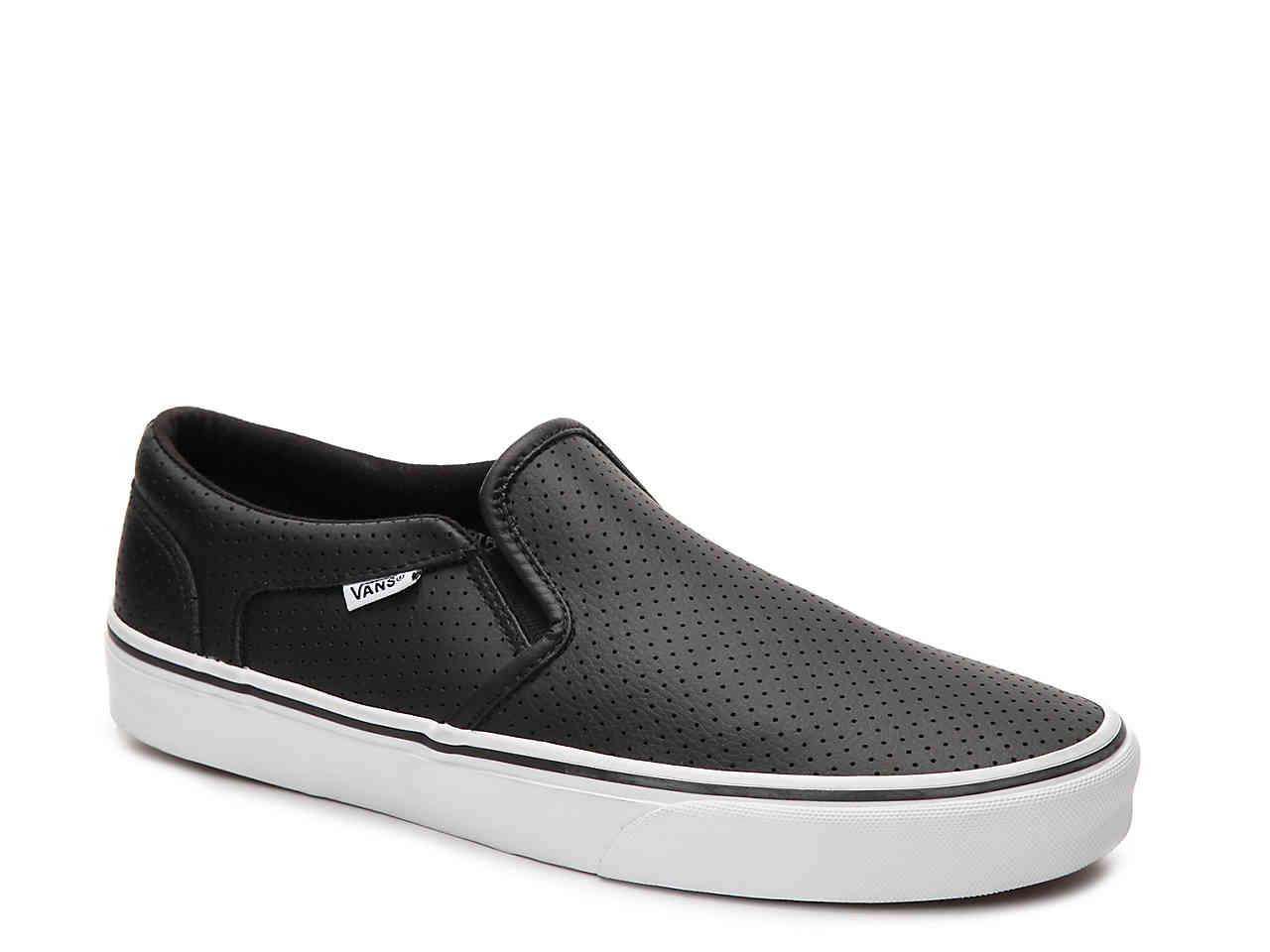 Vans Asher Perforated Leather Slip On Sneaker In Black For