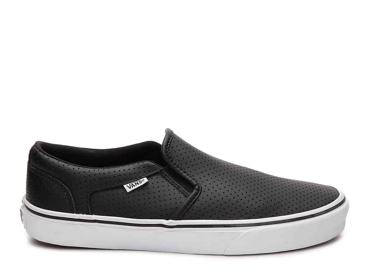 vans perforated leather slip on