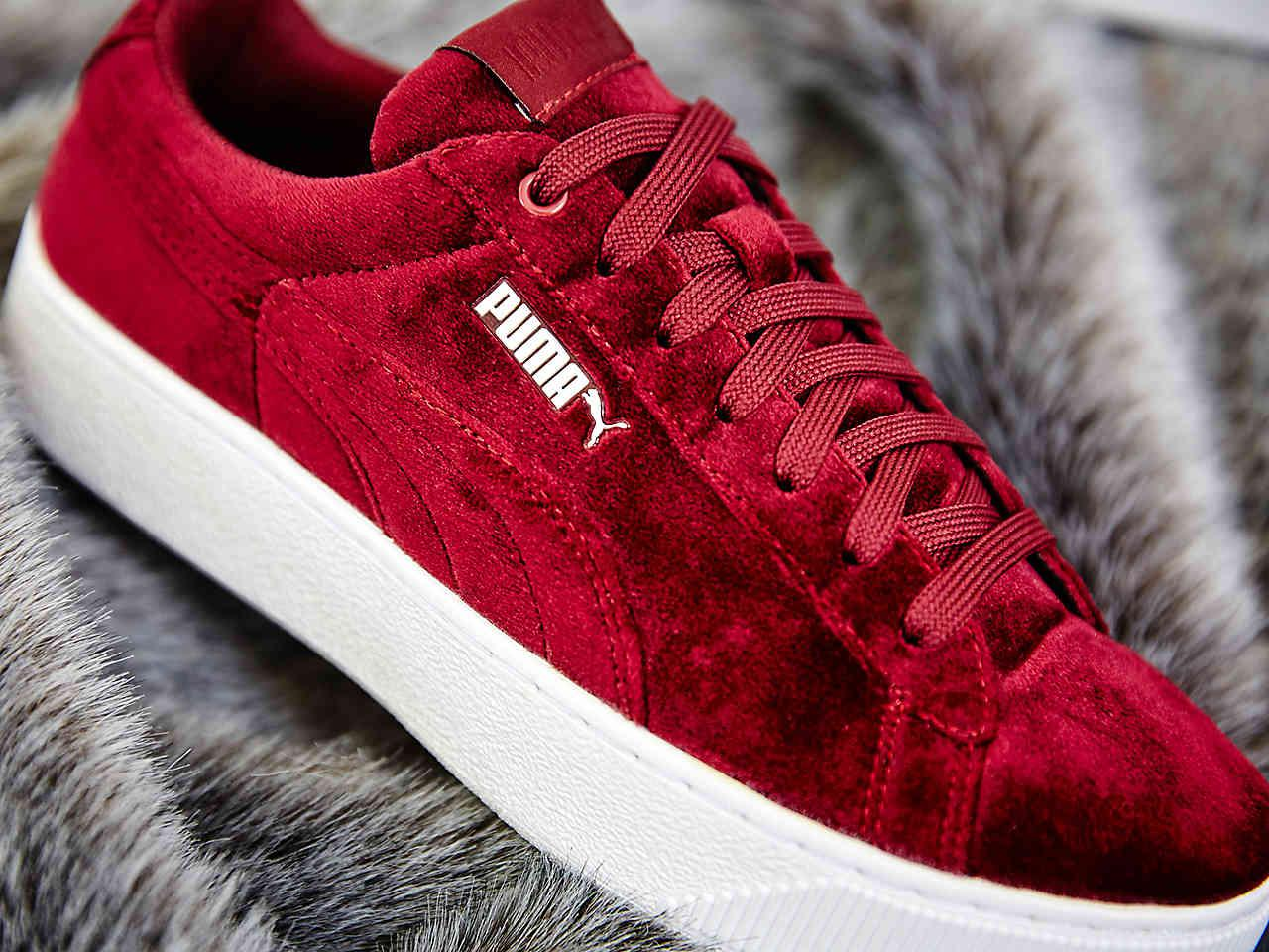 big sale 62f33 b075c PUMA Red Vikky Velvet Platform Sneaker