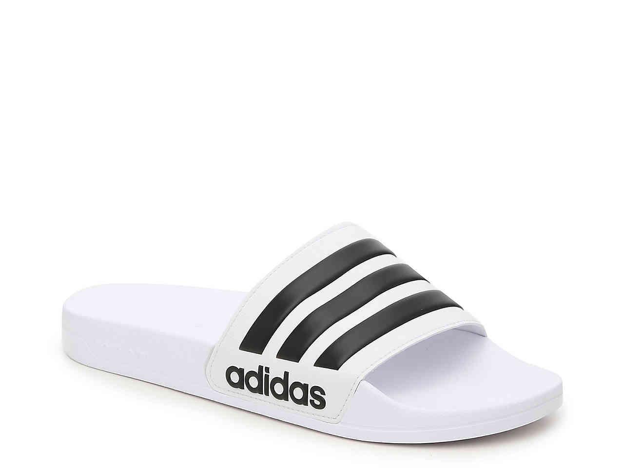 0910ccdbc0269c Adidas - White Adilette Shower Slide Sandals for Men - Lyst. View fullscreen