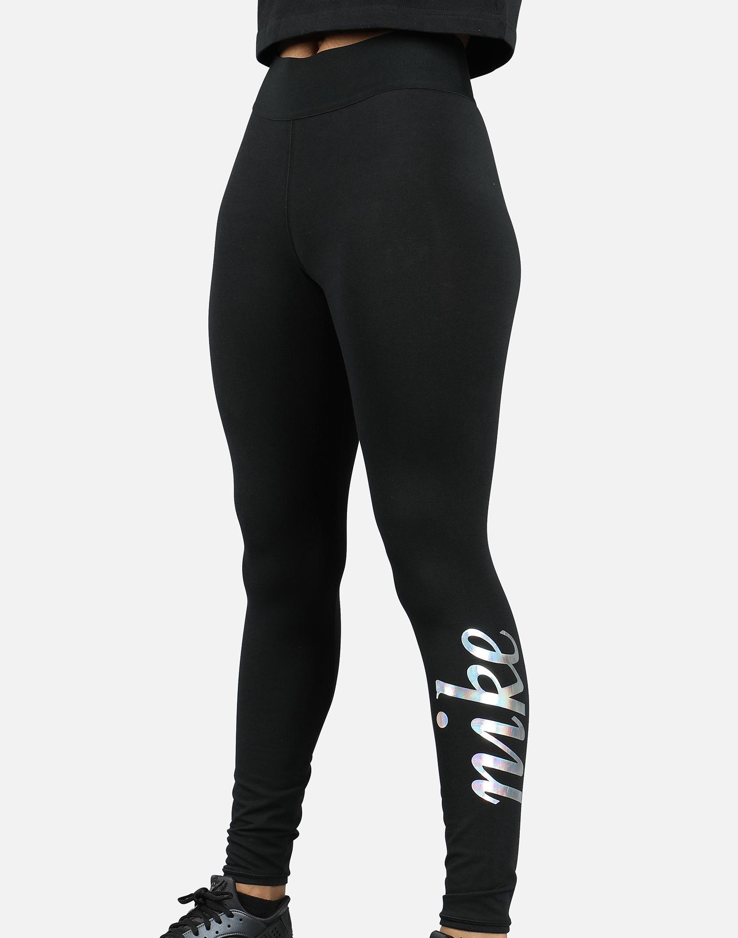 Nike Metallic Leggings in Black - Lyst
