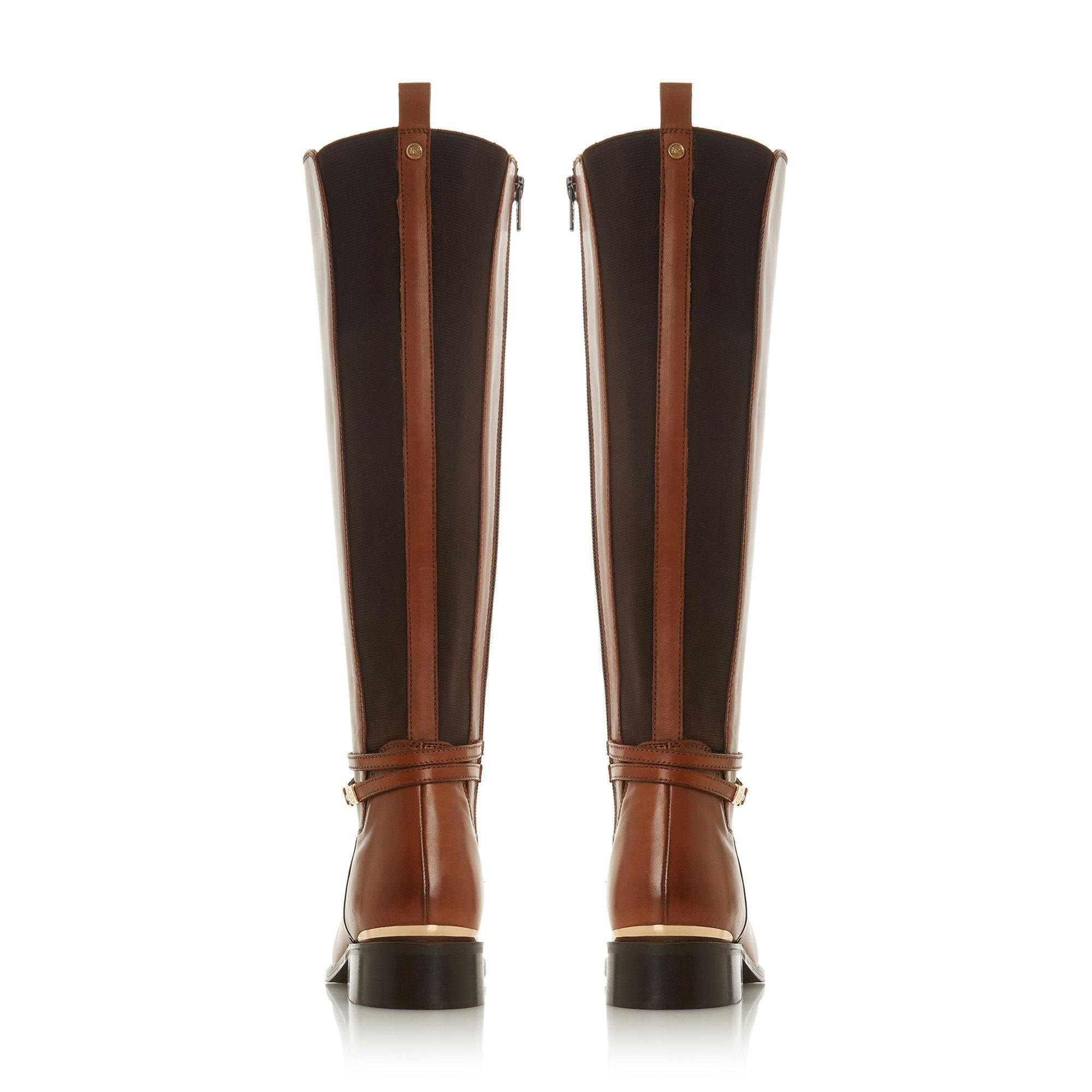 outlet for sale biggest discount so cheap Dune Leather 'wf Traviss' Block Heel Wide Fit Knee High Boots in ...