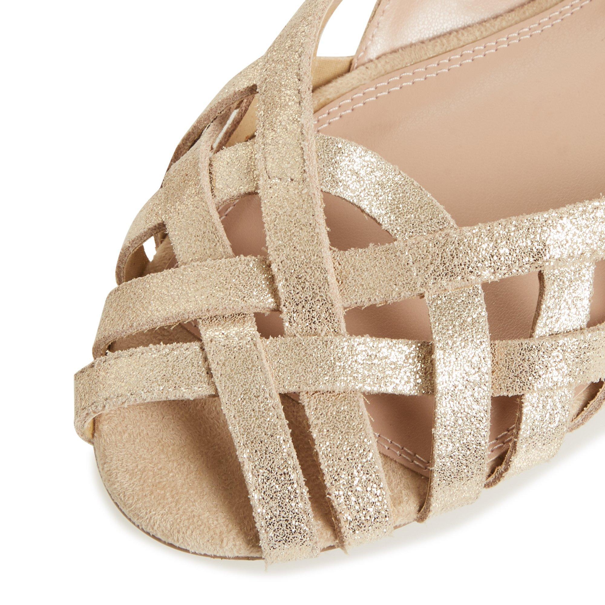 Dune Ladies Womens HARREL Cutwork Peep Toe Ballerina Pump Flat Heel