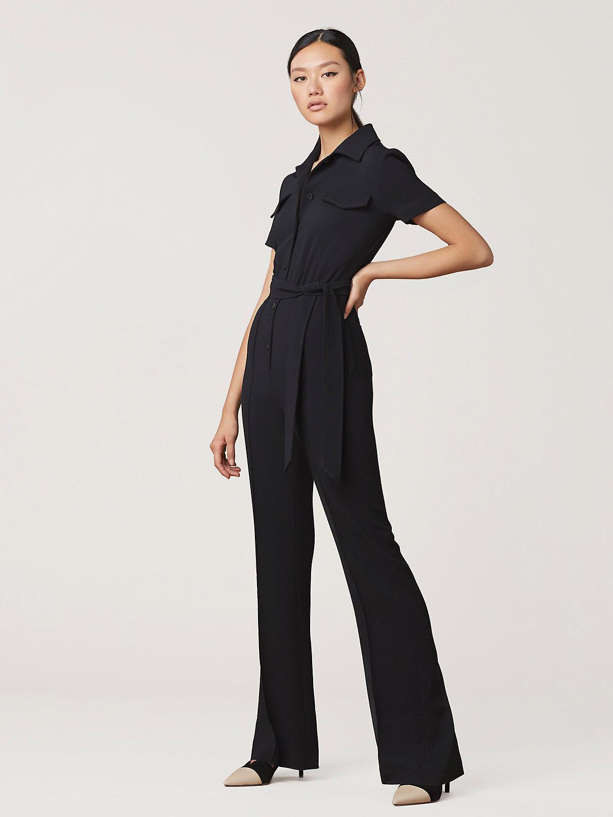 64532e40985 Lyst - Diane von Furstenberg Daisy Belted Jumpsuit in Black
