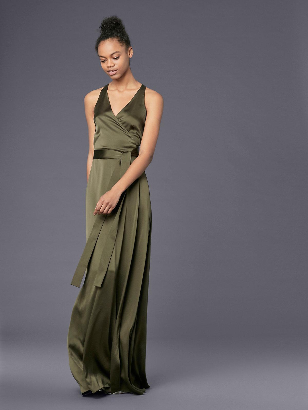 00ca613fc8a52 Diane von Furstenberg Sleeveless Floor-length Satin Wrap Dress in ...