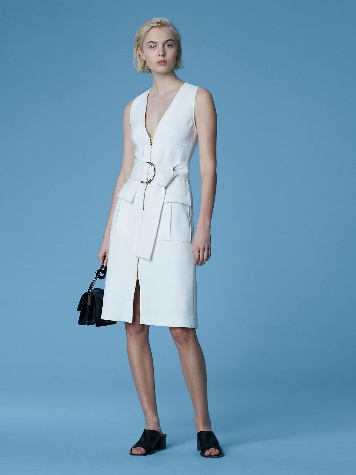 Diane Von Furstenberg Women S White Sleeveless Zip Front Dress