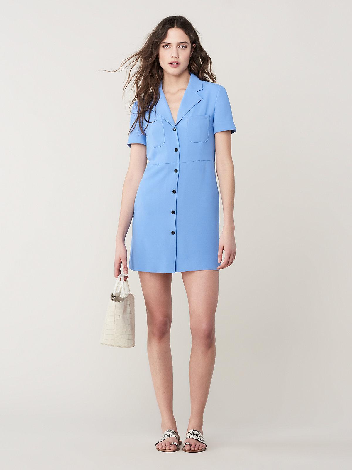 535f0dd896934 Lyst - Diane von Furstenberg Rowan Collared Mini Dress in Blue