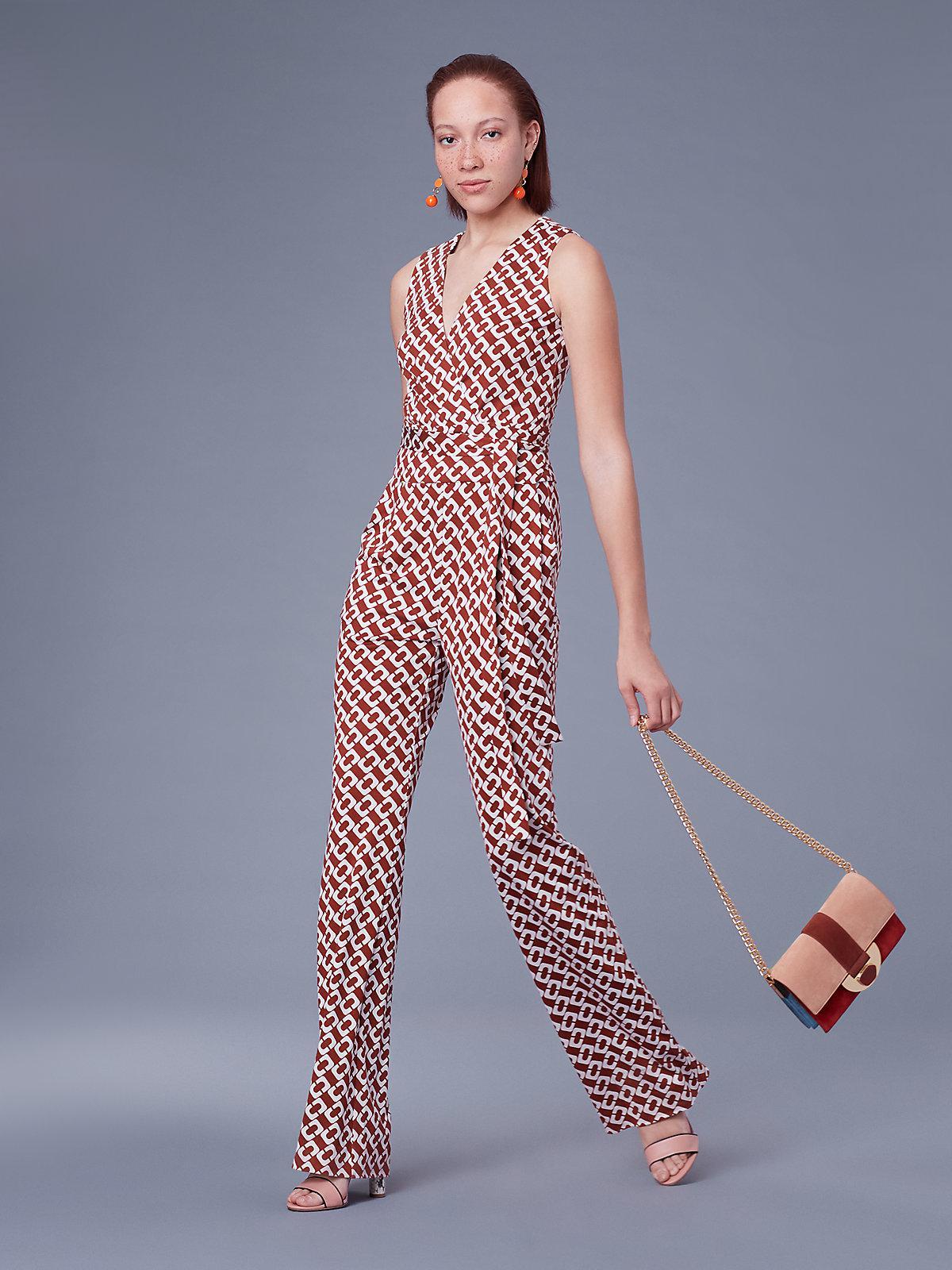 4742186119029 Diane von Furstenberg Terria Silk Jersey Wrap Jumpsuit in Red - Save ...