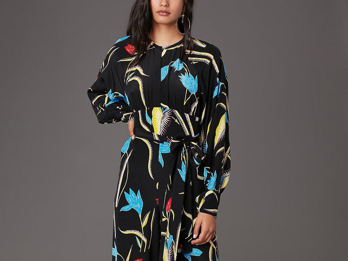 32c88553e98 Diane von Furstenberg Long Sleeve Front Tie Jumpsuit in Black - Lyst