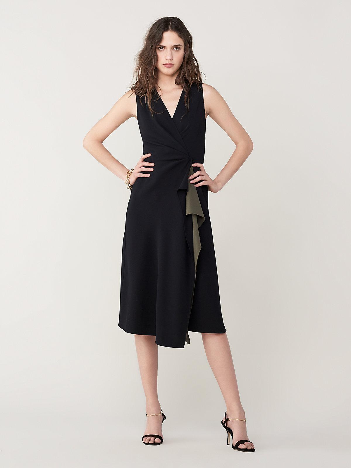 4f79e54a1ec Diane von Furstenberg Addison A-line Midi Dress in Black - Lyst