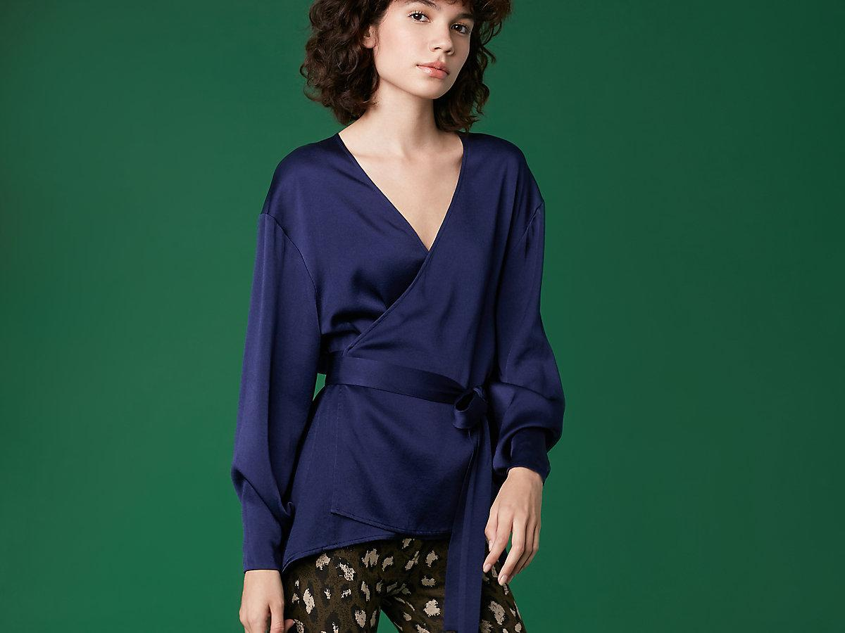 4bc42f39a67207 Diane von Furstenberg - Blue Long Sleeve Crossover Tied Blouse - Lyst. View  fullscreen