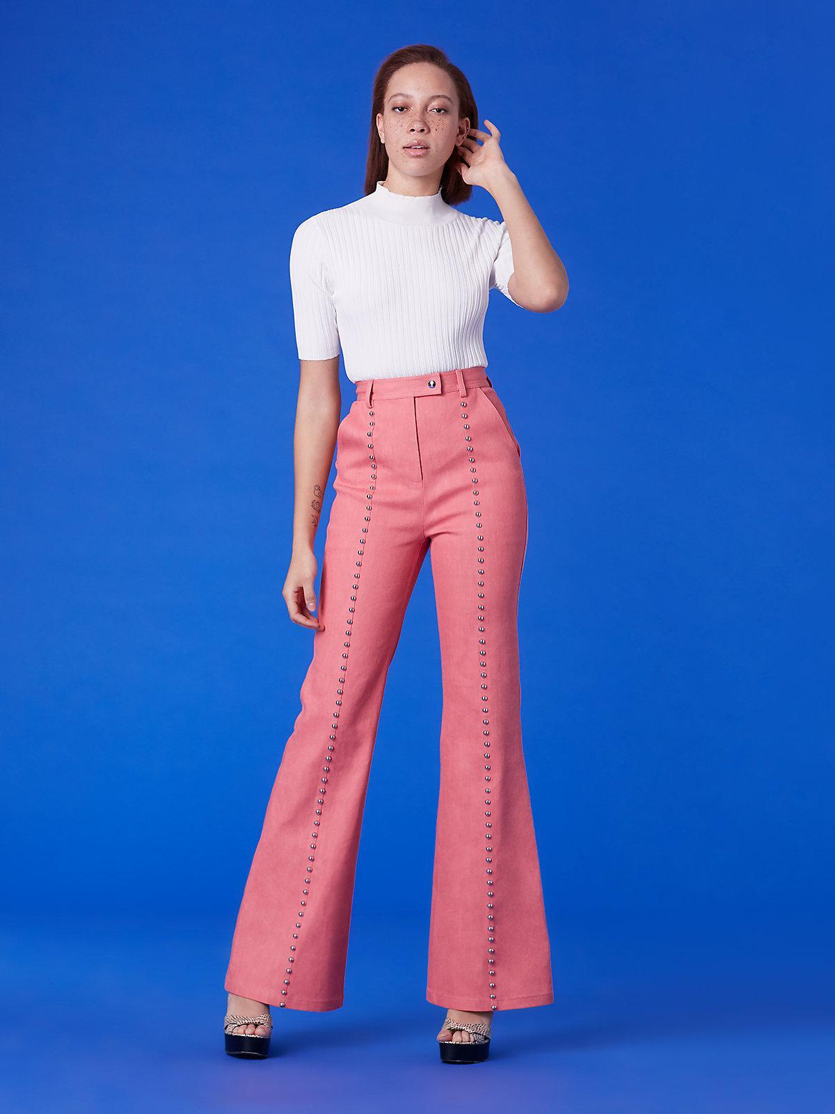 685438d1 Diane von Furstenberg Blue Studded Seam Flare Pants
