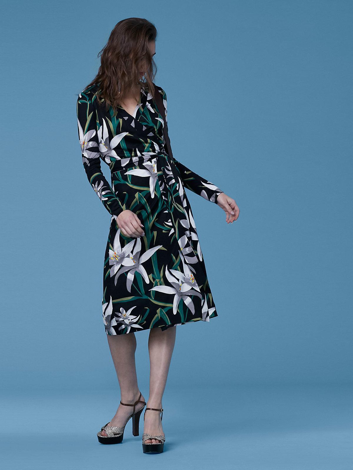 68c5724d6acc6 Diane von Furstenberg Cybil Silk Jersey Banded Wrap Dress in Black ...