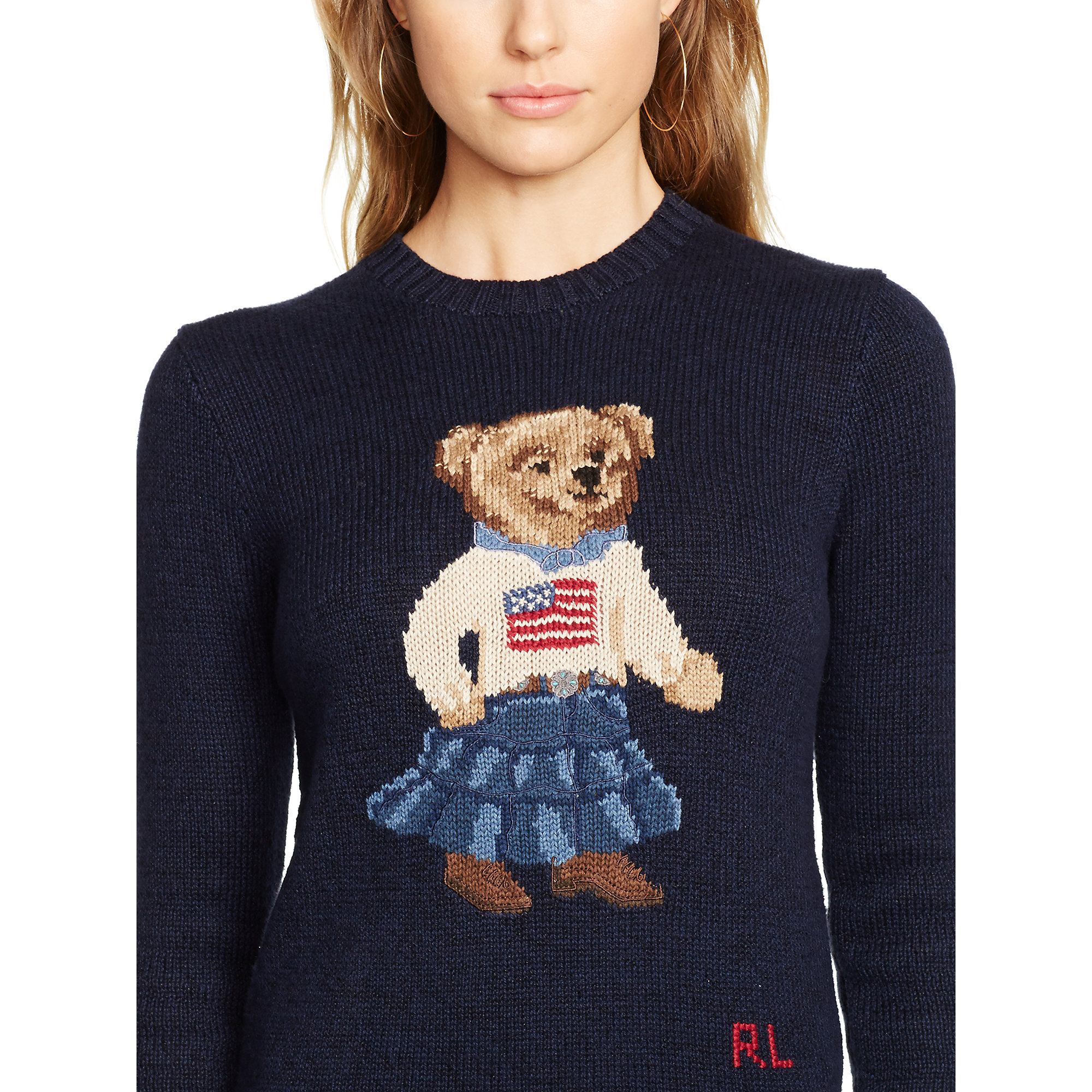 065e23c5a2b8 Lyst - Polo Ralph Lauren Pima Cotton Bear Sweater in Blue