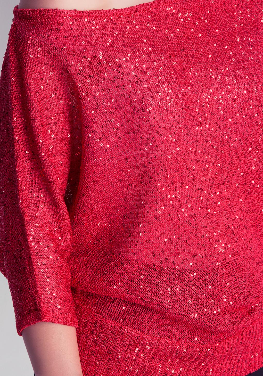Bebe Asymmetric Sequin Sweater in Red | Lyst