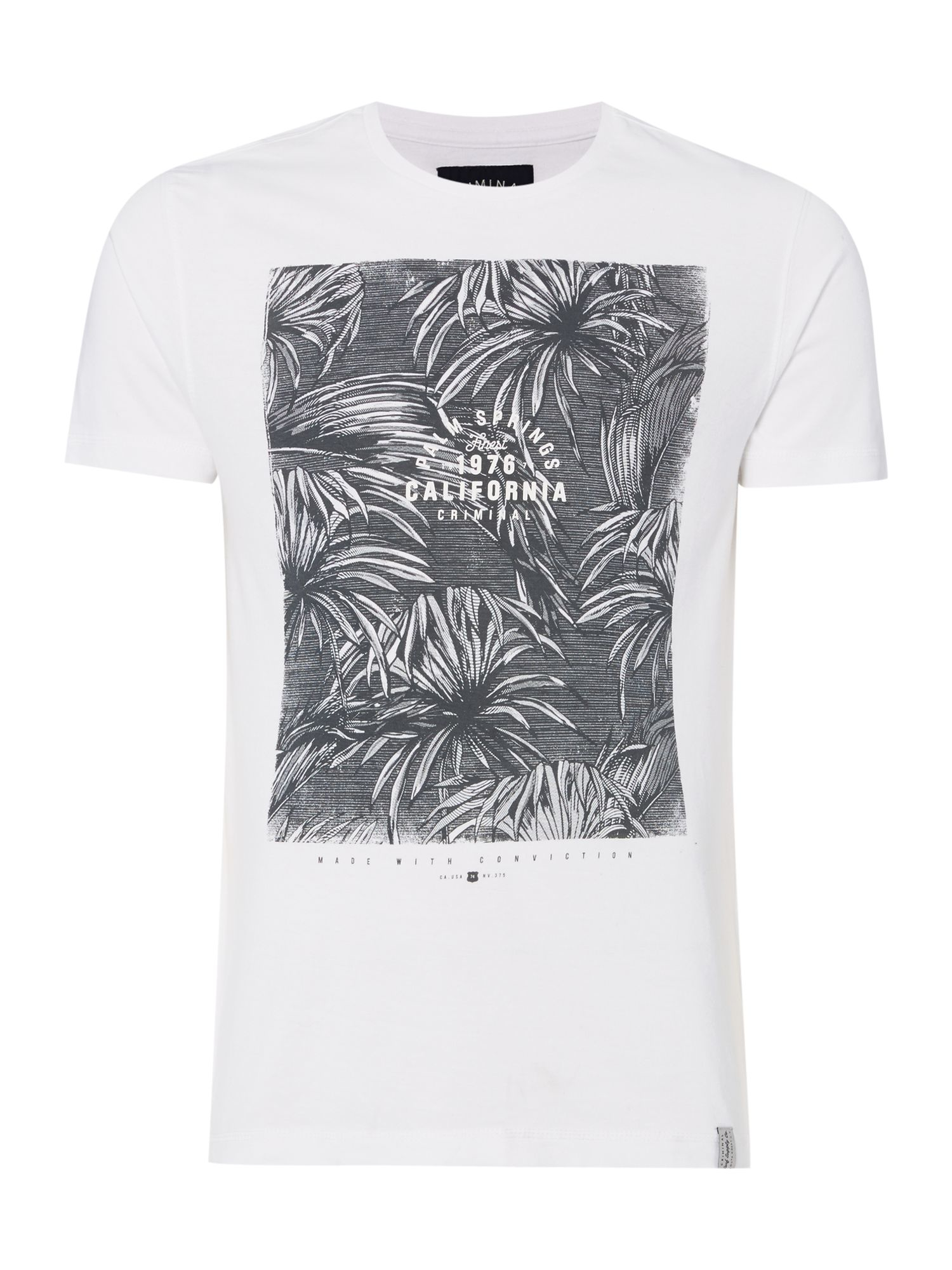 Criminal palm springs monochrome print tshirt in white for for T shirt city palm springs