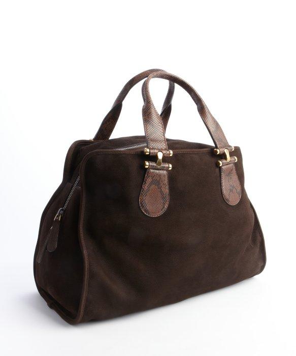 Gucci Chocolate Suede Snakeskin Handle Tote Bag in Brown | Lyst