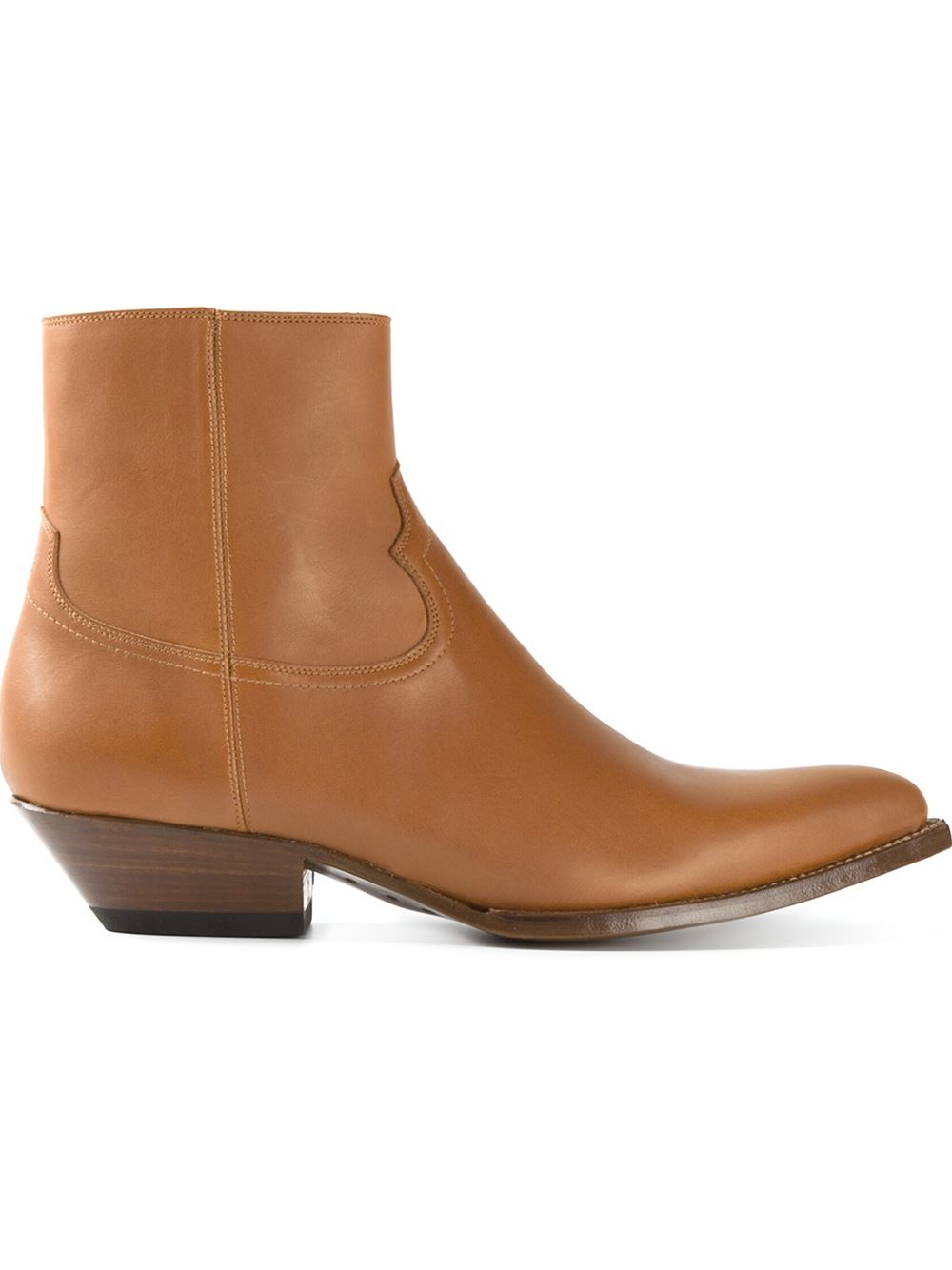 laurent western ankle boots in brown for lyst