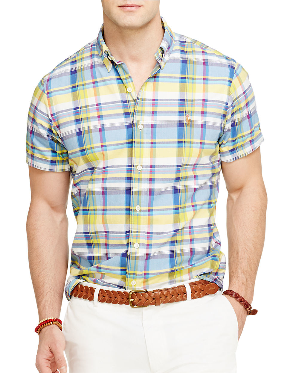 Polo Ralph Lauren Short Sleeved Plaid Oxford Shirt In