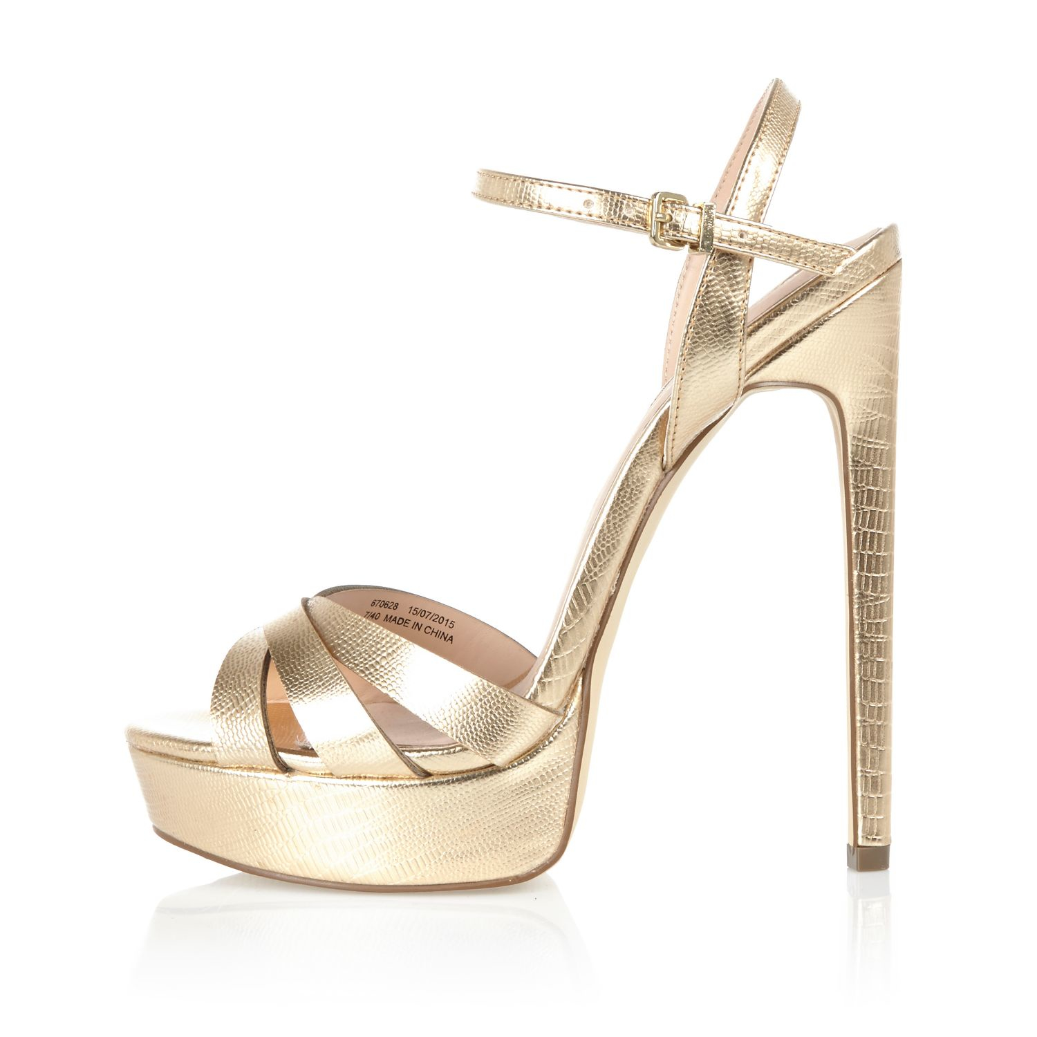 Metallic Gold Platform Heels - Is Heel