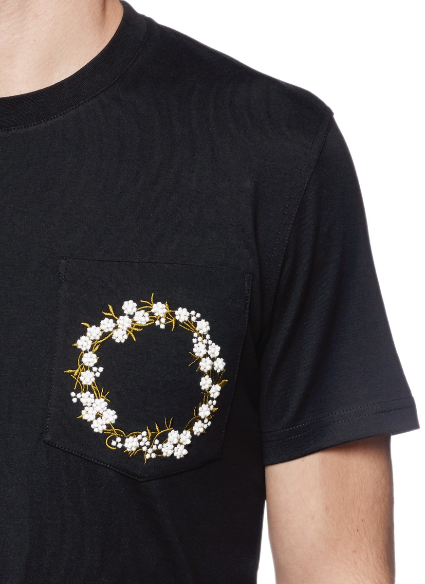 Lyst givenchy floral embroidery patch pocket t shirt in