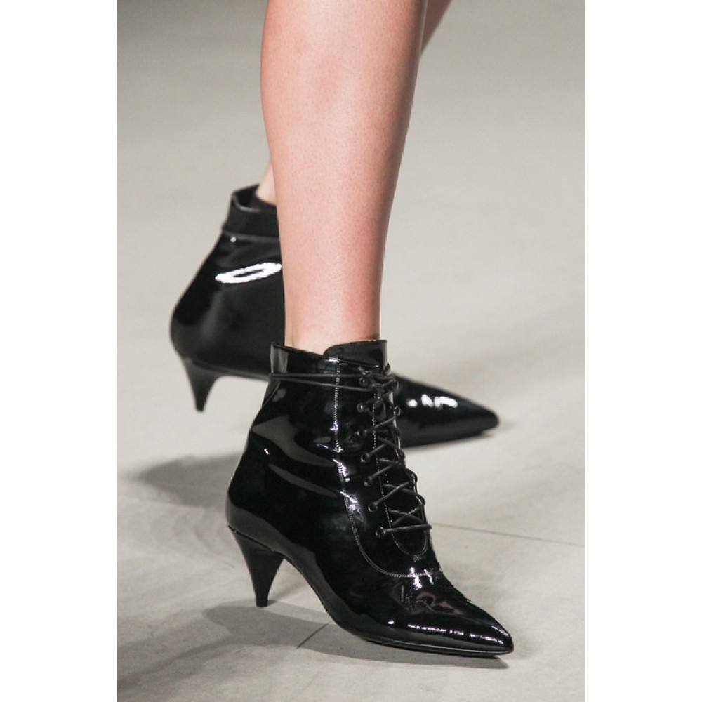 Women's Black Cat Patent Leather Ankle Boots