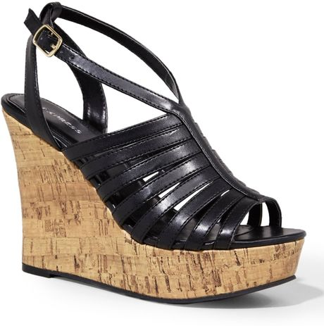 Naturalizer Strappy Cork Wedge Black