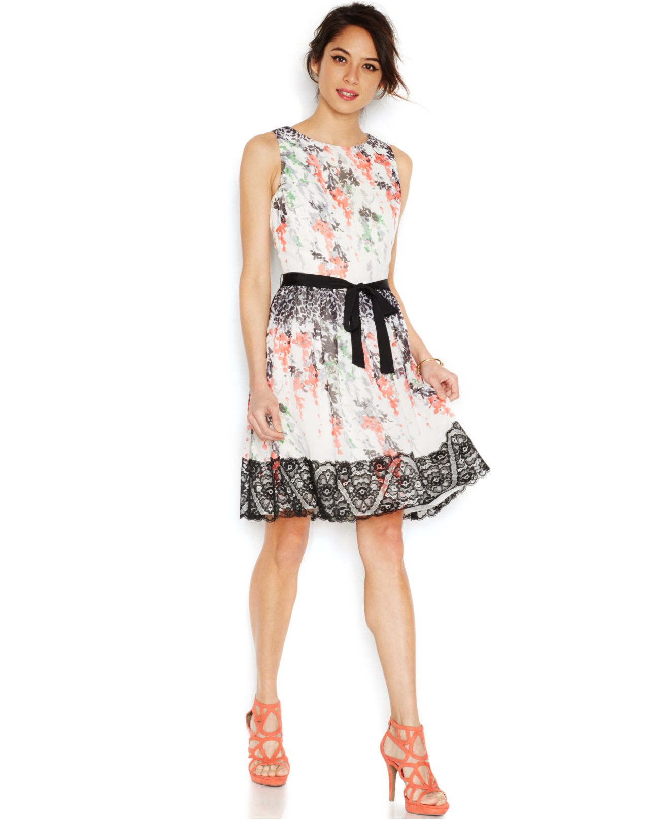 Floral Print Lace Trim Dress