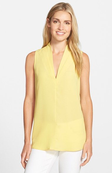 fd5140d546cc85 Lyst - Pleione Layered V-neck Sleeveless Blouse in Yellow