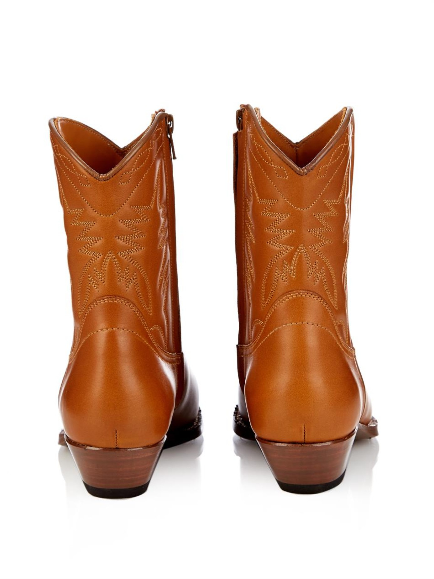 Lyst - Saint Laurent Santiag Western Ankle Boots in Brown cf08b845a