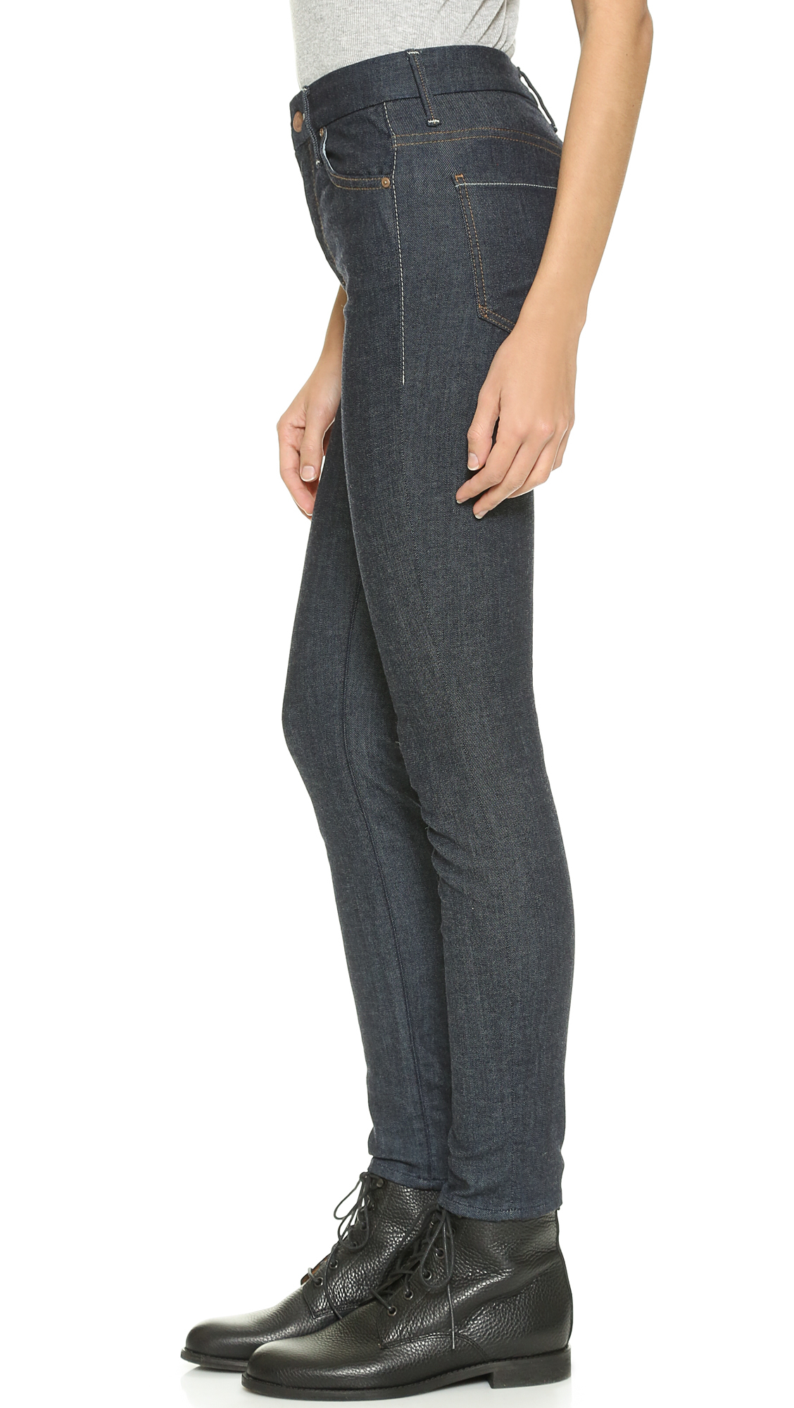 Mother High Waisted Looker Jeans - Too Tough To Tame in Blue