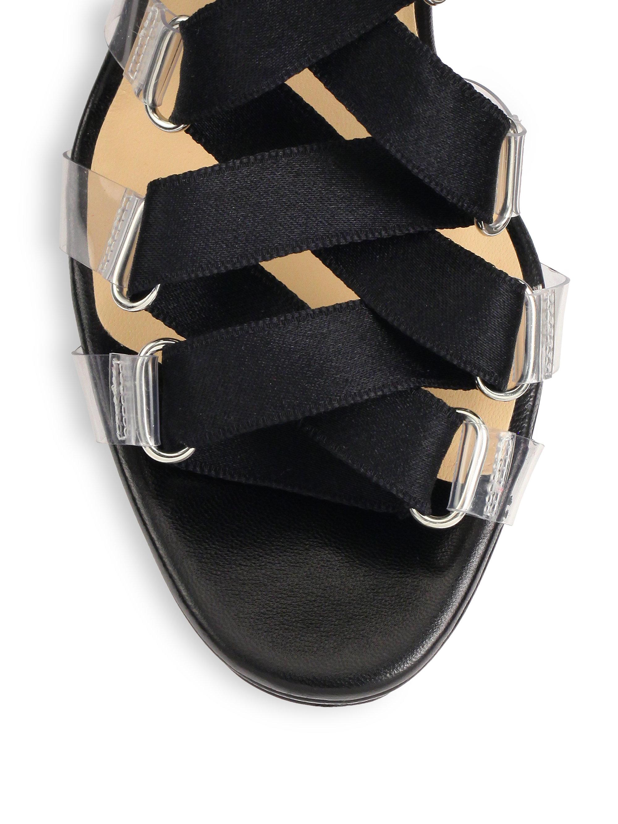2ef8daf4229 Christian Louboutin Black Nymphette Satin Tieup Sandals