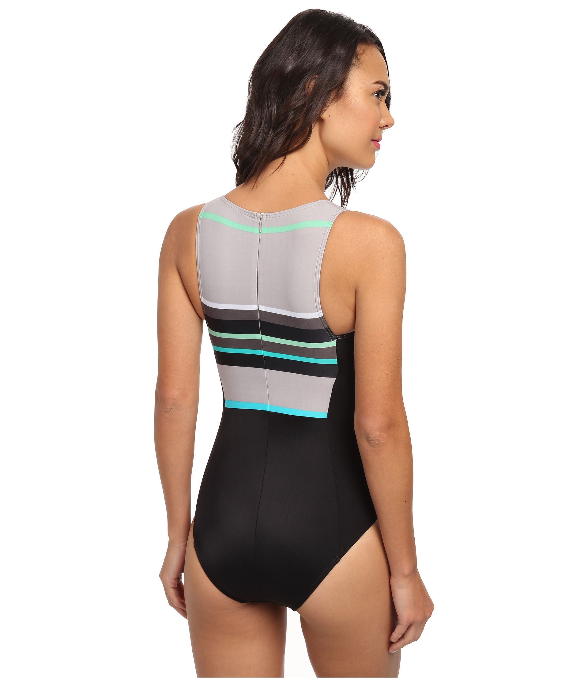7b505c30697 DKNY Slip Stripes High Neck Maillot One-piece in Black - Lyst