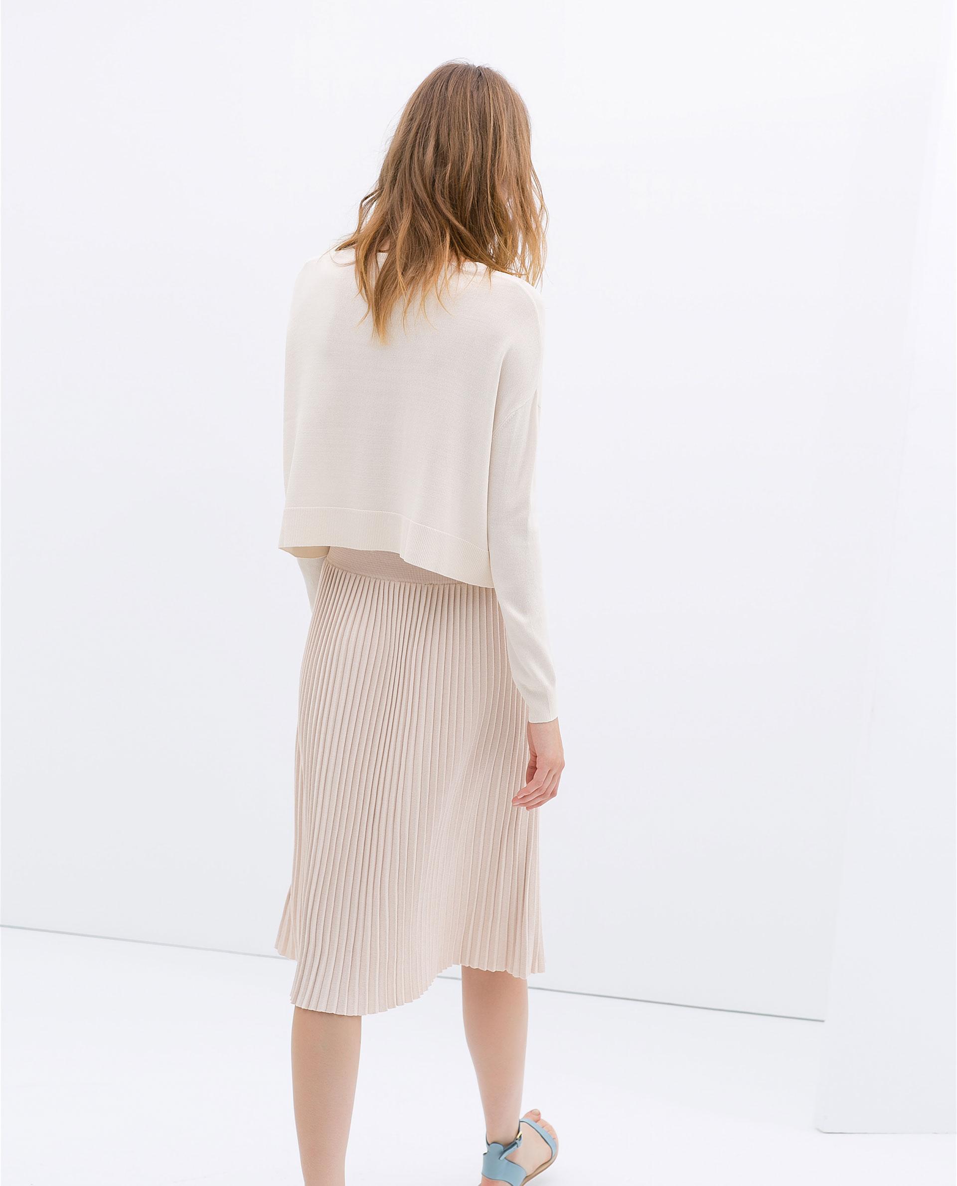 zara knee length pleat skirt in pink lyst