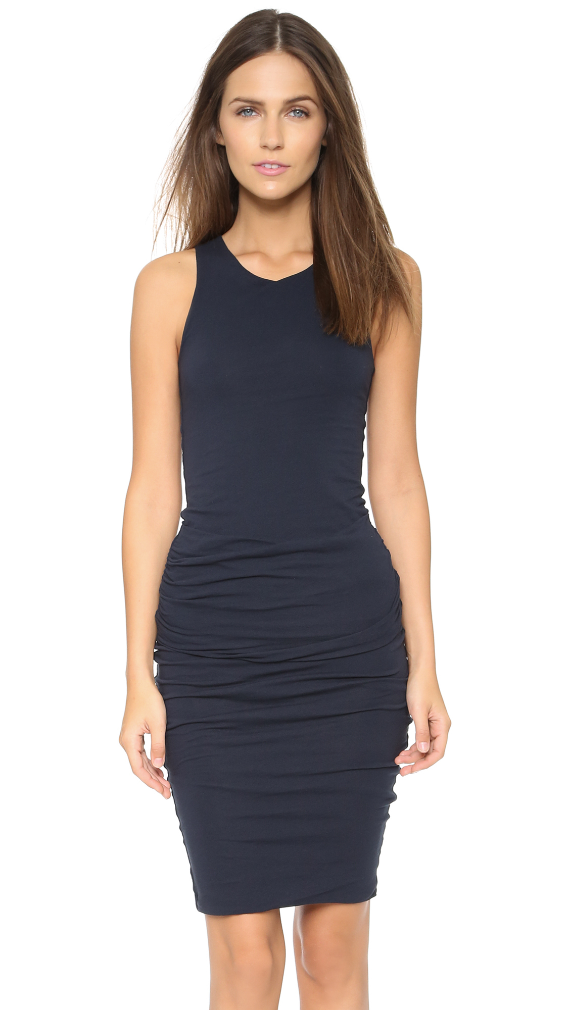James Perse Ruched Tank Dress In Blue Lyst