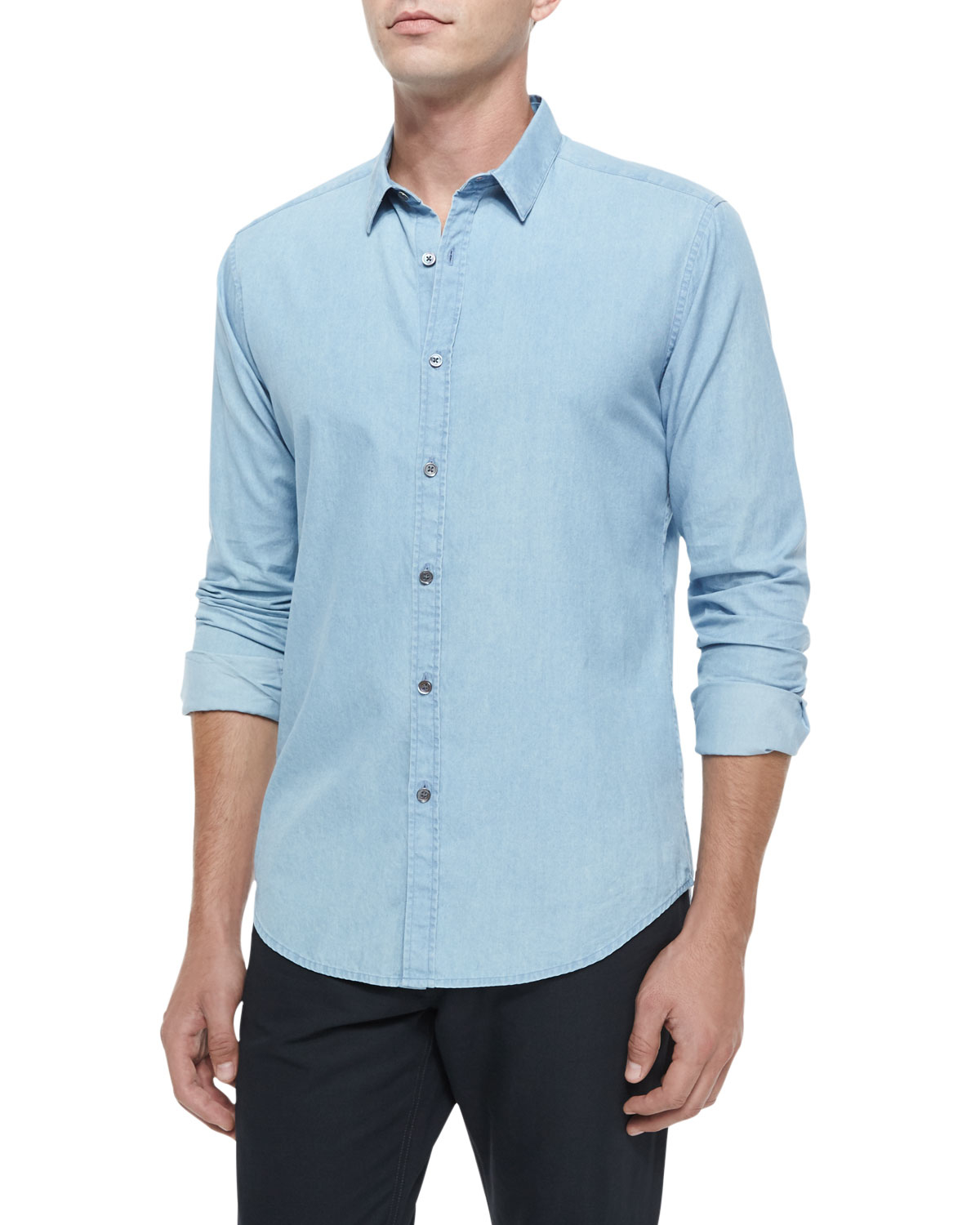 Theory chambray long sleeve woven shirt in blue for men lyst for Chambray long sleeve shirt