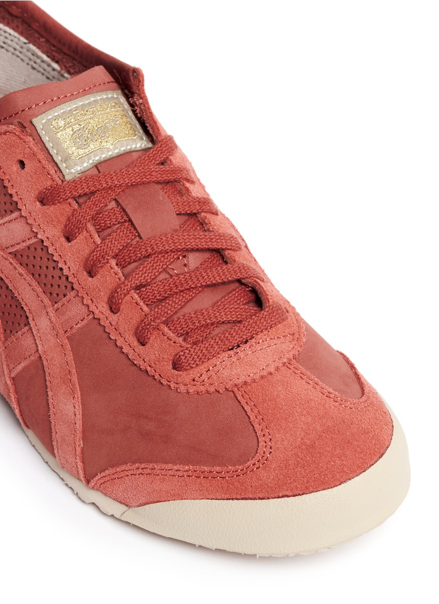 online retailer c0979 6520a Men's Red 'mexico 66' Perforated Nubuck Leather Sneakers