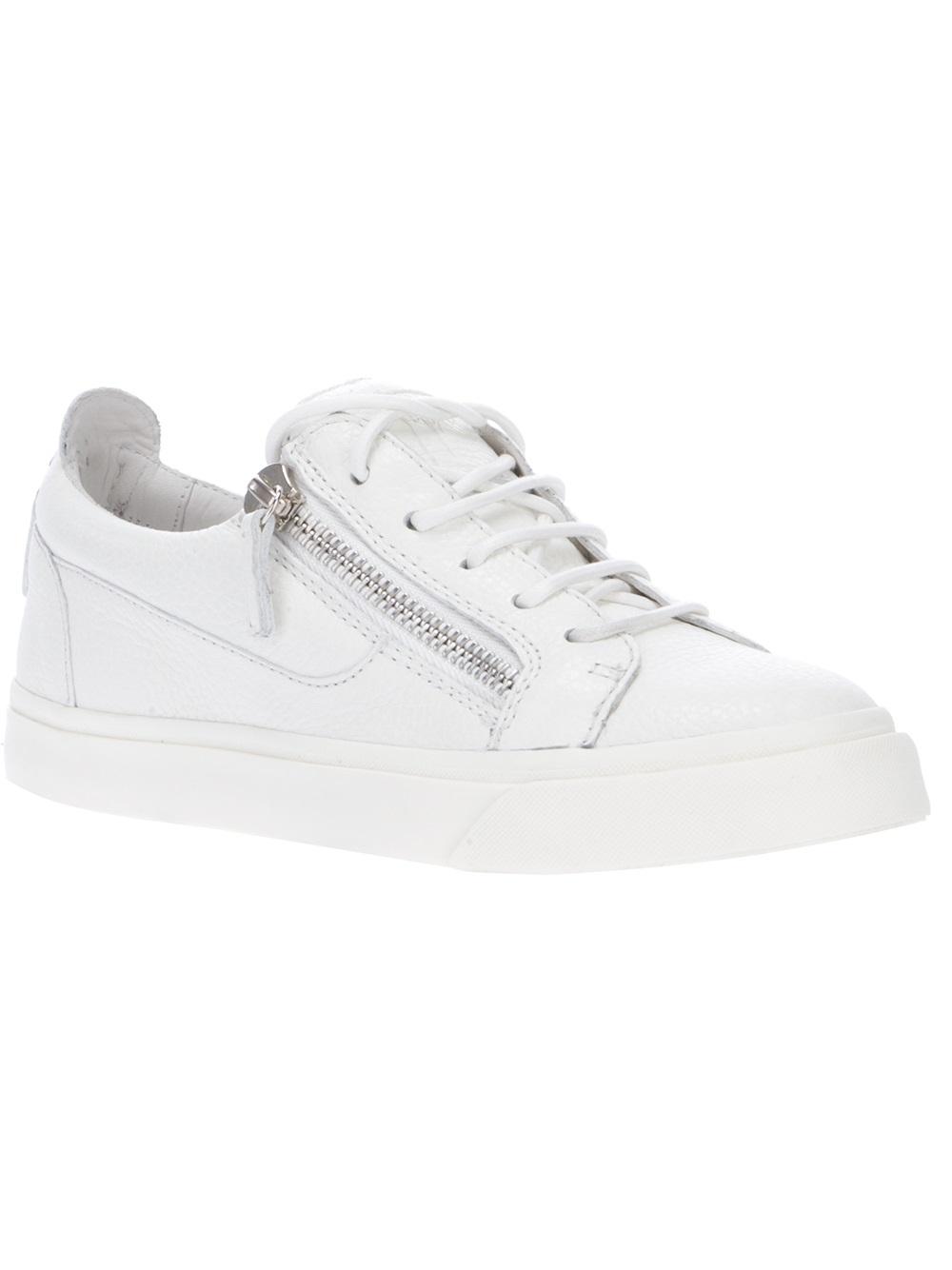 Lyst - Giuseppe Zanotti Zip Detailed Sneakers in White bb016d06920a