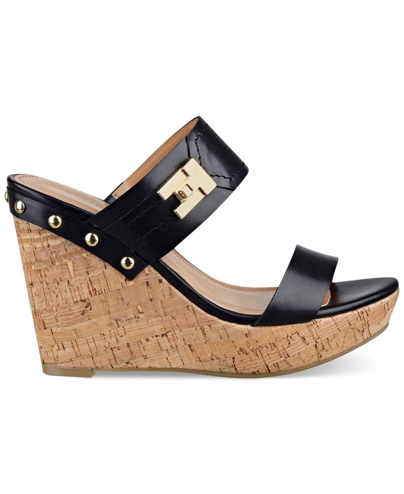 ef361e84ae2 Lyst - Tommy Hilfiger Women s Madasen Platform Wedge Sandals in Black