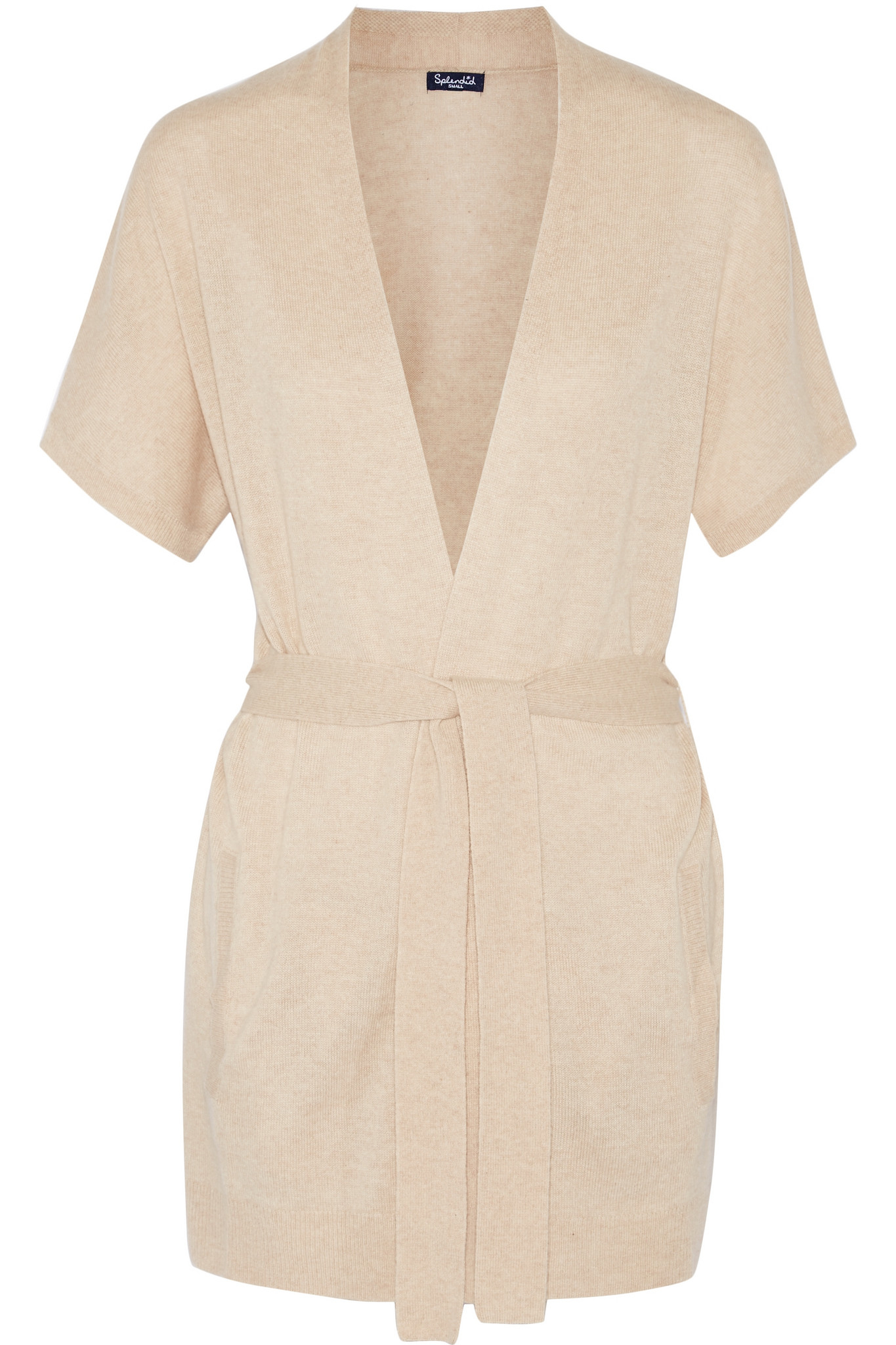 Splendid Belted Cashmere Cardigan in Natural | Lyst