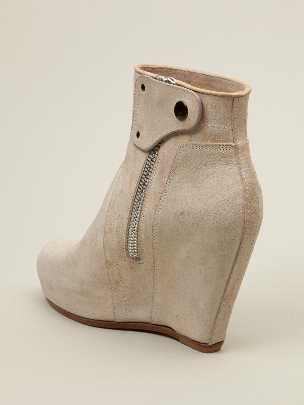 rick owens platform wedge boots in white lyst