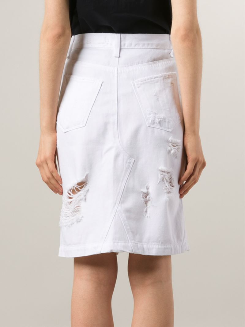 Rag & bone Distressed Denim Skirt in White | Lyst