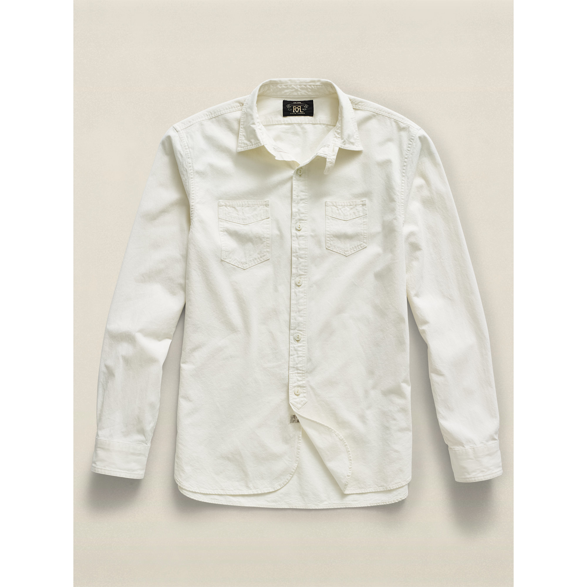 Rrl cotton chambray workshirt in white for men lyst for White cotton work shirts