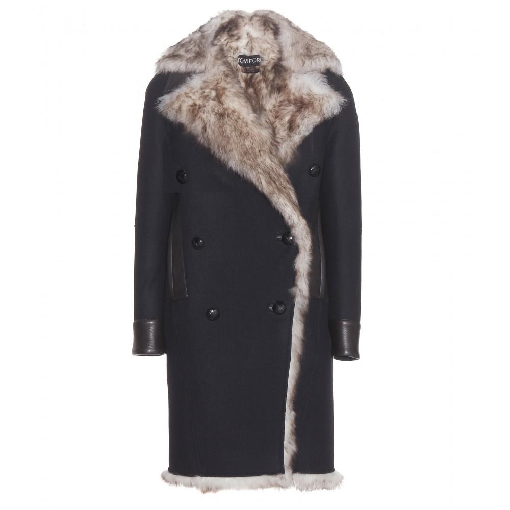 Tom ford Fur-Lined Wool Coat in Black | Lyst