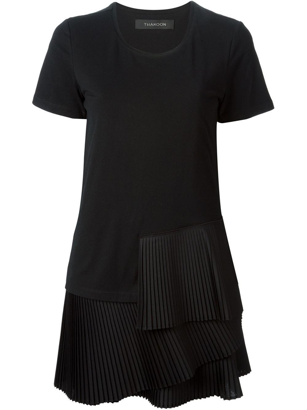 Thakoon layered pleated hem t shirt dress in black lyst for Black pleated dress shirt