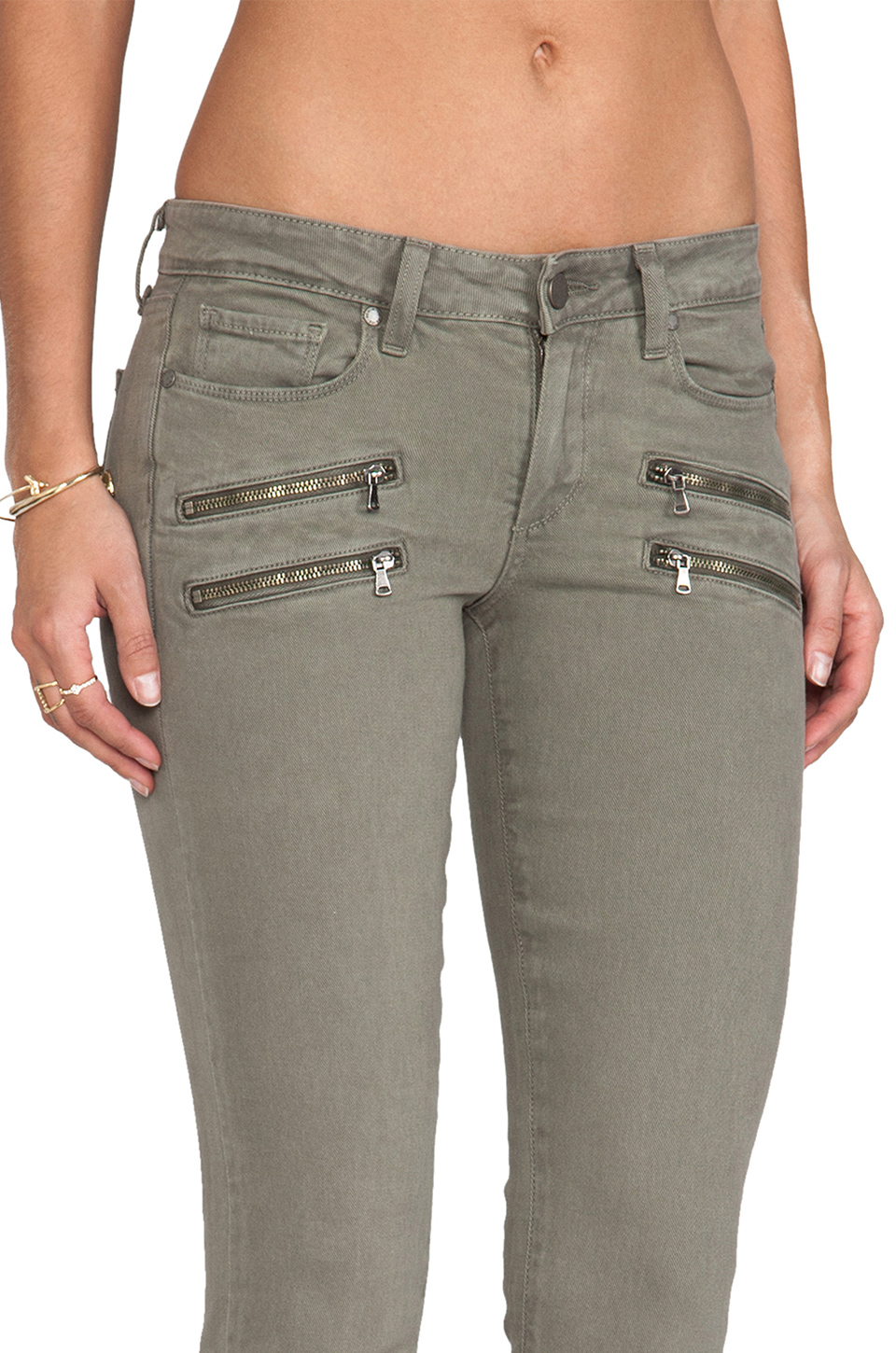 Lyst paige edgemont ultra skinny with zippers in fatigue for The edgemont