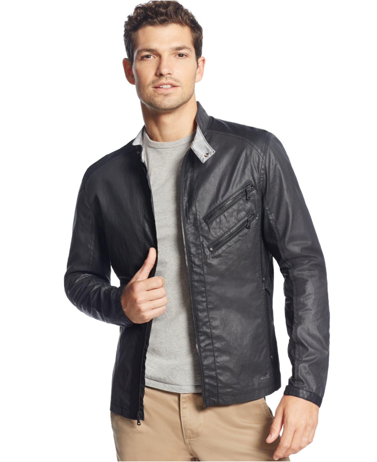 Calvin klein jeans Mixed Media Lightweight Moto Jacket in Black for Men | Lyst