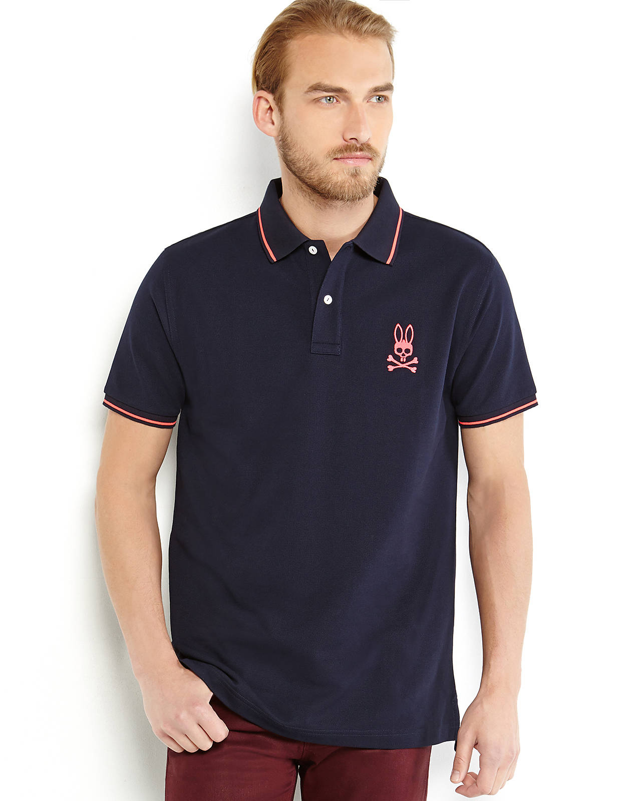 Psycho Bunny Neon Logo Polo In Navy Pink Blue For Men Lyst